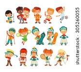 big set of cute kids playing... | Shutterstock .eps vector #305260055
