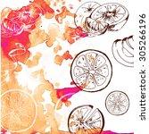 hand paint orange sketch... | Shutterstock . vector #305266196