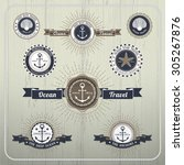 nautical anchor travel labels... | Shutterstock .eps vector #305267876