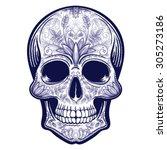 vector blue tattoo skull... | Shutterstock .eps vector #305273186