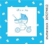 vector illustration of blue... | Shutterstock .eps vector #305274812