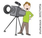 an image of a cartoon cameraman ... | Shutterstock .eps vector #305274956