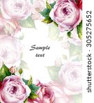 decorative card with watercolor ... | Shutterstock . vector #305275652
