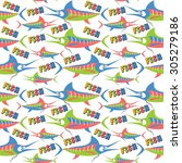 colorful fish on white...   Shutterstock .eps vector #305279186