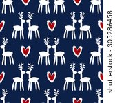 seamless pattern with deers ... | Shutterstock .eps vector #305286458