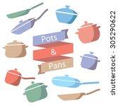 pots and pans vector... | Shutterstock .eps vector #305290622