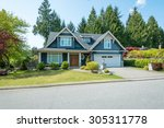 luxury blue house with... | Shutterstock . vector #305311778