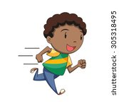 Boy Running  Vector Illustration