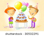 family celebrating a birthday... | Shutterstock .eps vector #30532291