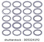set of lace monochrome ornate... | Shutterstock . vector #305324192