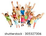 many kids stand isolated on... | Shutterstock . vector #305327306