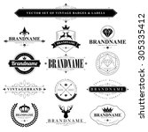 set of vintage brand badges and ... | Shutterstock .eps vector #305335412