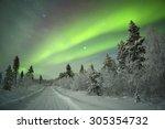 spectacular aurora borealis ... | Shutterstock . vector #305354732