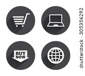 online shopping icons. notebook ... | Shutterstock .eps vector #305356292