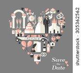 wedding card invitation. | Shutterstock .eps vector #305362562