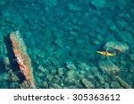 Top View Of Kayak Boat In...