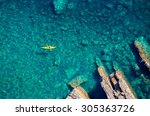 top view of kayak boat oin... | Shutterstock . vector #305363726