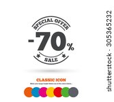 70 percent discount sign icon.... | Shutterstock .eps vector #305365232