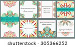 set ornament of greeting cards  ... | Shutterstock .eps vector #305366252