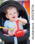 cutte little baby have fun and... | Shutterstock . vector #305378756