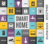 smart house technology system...   Shutterstock .eps vector #305379485