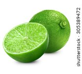 lime fruit with leaf isolated... | Shutterstock . vector #305389472