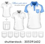 men's short sleeve polo shirt... | Shutterstock .eps vector #305391602