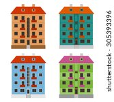 various apartment houses  four... | Shutterstock .eps vector #305393396