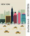 vector new york background flat | Shutterstock .eps vector #305395856