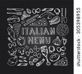 restaurant cafe italian menu.... | Shutterstock .eps vector #305398955