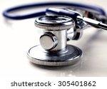 medical stethoscope in white...   Shutterstock . vector #305401862
