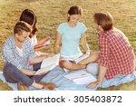students preparing for exams... | Shutterstock . vector #305403872