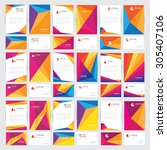 mega stationery set collection... | Shutterstock .eps vector #305407106