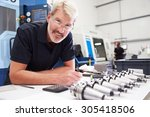 engineer planning project with... | Shutterstock . vector #305418506