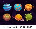 set of cartoon fantasy planet... | Shutterstock .eps vector #305419055