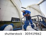 man working with large white... | Shutterstock . vector #305419862