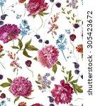 gentle summer floral seamless... | Shutterstock . vector #305423672