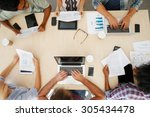 overhead view of staff with... | Shutterstock . vector #305434478
