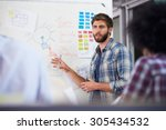 manager leading creative... | Shutterstock . vector #305434532