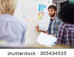 manager leading creative... | Shutterstock . vector #305434535