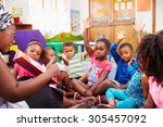 class of preschool children... | Shutterstock . vector #305457092