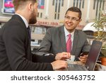 two businessmen talking in a... | Shutterstock . vector #305463752