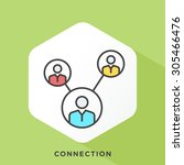connected people icon with dark ... | Shutterstock .eps vector #305466476
