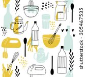 vintage kitchen set in vector... | Shutterstock .eps vector #305467535