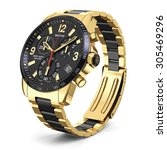Mens Swiss Mechanical Golden...
