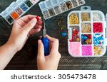 making of handmade jewellery.... | Shutterstock . vector #305473478