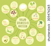 vegan sources of protein. plant ... | Shutterstock .eps vector #305476265