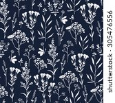 seamless pattern with herbs and ... | Shutterstock .eps vector #305476556
