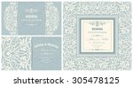 wedding invitation cards ... | Shutterstock .eps vector #305478125