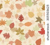 seamless autumn leafs pattern | Shutterstock .eps vector #305503625